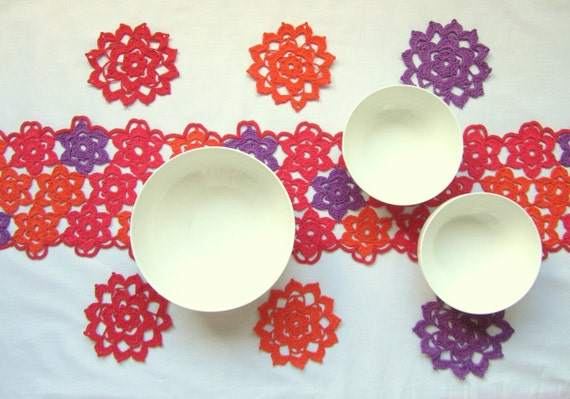 Long Crochet Multicolor - Coral, Purple, Orange Table runner and tea cup Coaster Set of 6