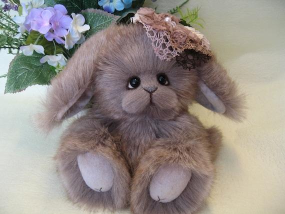 OOAK chinchilla faux fur Easter lop-eared bunny, Chiffon by YuYu Bear