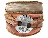 Yoga Jewelry - Silk Wrap Bracelet - Silver Flower Clasp - Custom - Your Choice of Colors