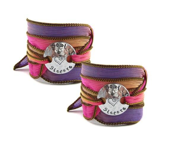 Soul Sisters- Best Friend - Silk Wrap Bracelet - Your Choice of Colors