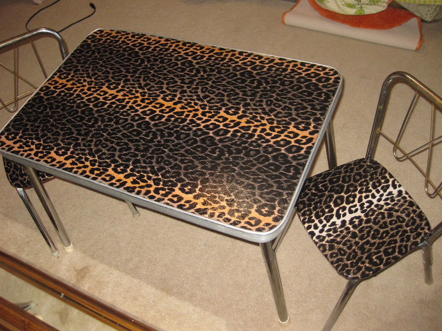 Vintage Leopard Print Childrens Table Chair Set