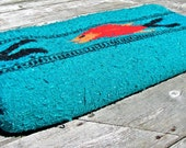 Vintage Mexican blanket turquoise throw with traditional fish design