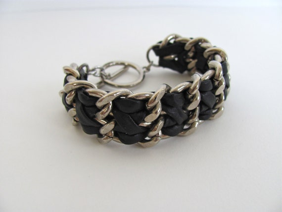 vintage chain braided bracelet with leather braiding