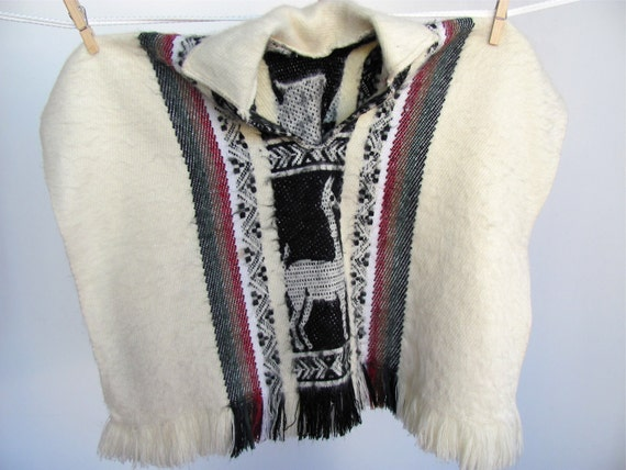 vintage ALPACA baby poncho with llamas