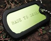 Dog Tag Personalized - Green color plate pendant (FREE SHIPPING)