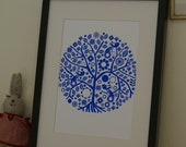 Screen printed folk tree poster