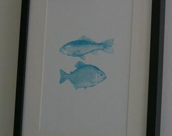 Silk screenprinted fish poster
