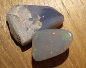 opal cabochon from Lighting Ridge Australia shown next to rough as contrast Ready to Ship
