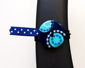 BosoBuddies - Navy/Teal Circles w/ Blue/White Dots Ribbon (3209-047)
