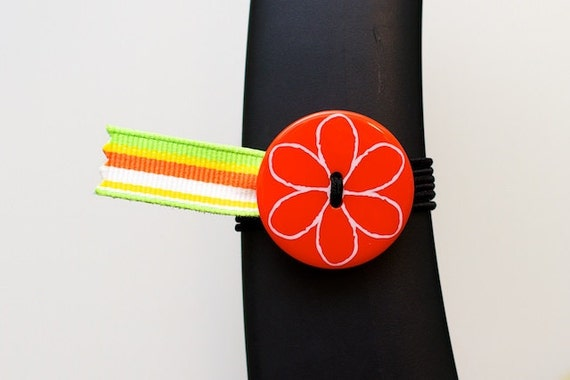 BosoBuddies - Orange Flower w/ MultiColor Stripe Ribbon (3217-024)
