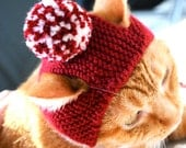 Pom Pom Cat Hat - Red (Crimson) and White - Hand Knit Cat Costume (READY TO SHIP)