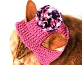 Pom Pom Cat Hat - Pink and Purple - Hand Knit Cat Costume