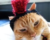 Mohawk Cat Hat - Red and Black - Hand Knit Cat Costume