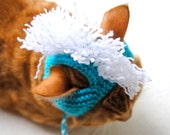 Mohawk Cat Hat - Aqua and White - Hand Knit Cat Costume - Cat Halloween Costume