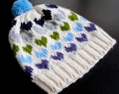 Girls Winter Pom Pom Hat - Multicolored Hearts (Ready to Ship)