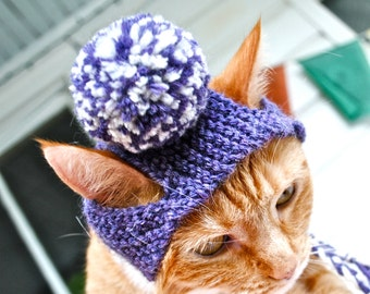 Pom Pom Cat Hat - Purple & White - Hand Knit Cat Costume