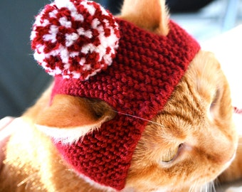 Pom Pom Cat Hat - Red (Crimson) and White - Hand Knit Cat Costume