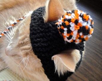 Pom Pom Cat Hat - Black, Orange, White - Hand Knit Cat Costumes