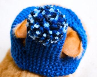 Pom Pom Cat Hat - Blues - Hand Knit Cat Costume