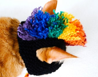Mohawk Cat Hat - Black and Rainbow - Hand Knit Cat Costume