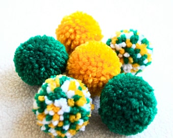 Catnip Pom Pom Cat Toys - Set of Six (Green, Yellow, and White)