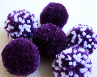 Catnip Pom Pom Cat Toys - Set of Six (Purple and White)