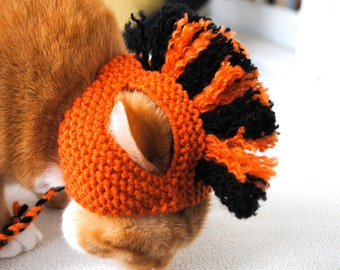 Cat Hat Costume - Orange and Black Mohawk