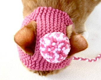 Pom Pom Cat Hat - Pink and White - Hand Knit Cat Costume
