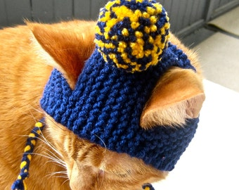 Pom Pom Cat Hat - Navy and Yellow - Hand Knit Cat Costume
