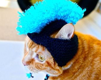 Mohawk Cat Hat - Navy and Aqua - Hand Knit Cat Costume
