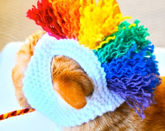 Hand Knit Mohawk Cat Hat  - Rainbow and White - Cat Costume