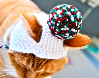 Pom Pom Cat Hat - White, Red, and Green - Hand Knit Cat Costume