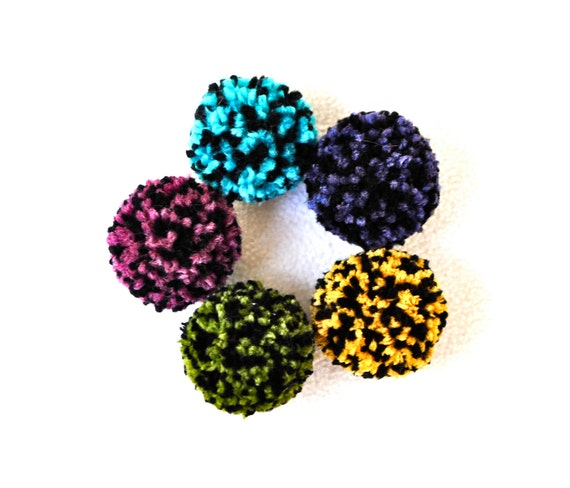 Catnip Pom Pom Cat Toys - Set of Five, 2 inch size - Handmade Toys for Cats