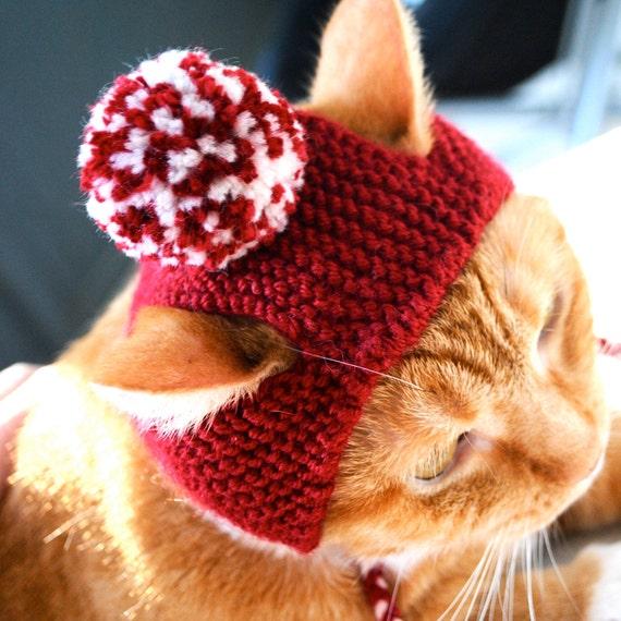 Pom Pom Cat Hat - Red (Crimson) and White - Hand Knit Cat Costume