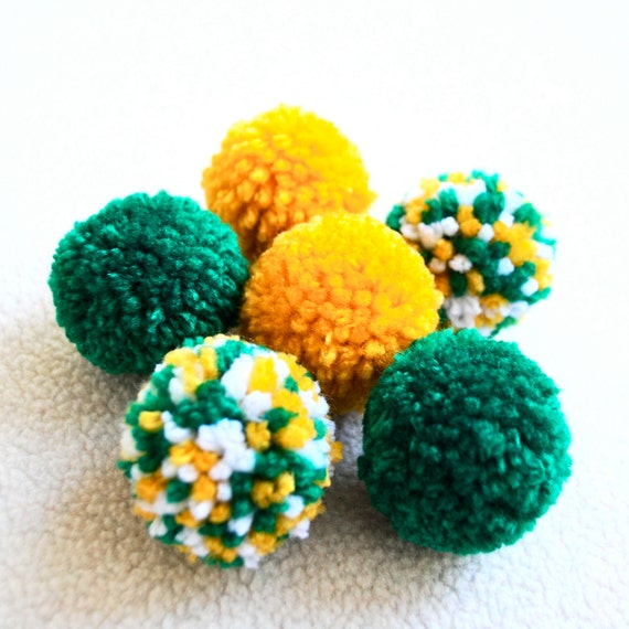 Catnip Pom Pom Cat Toys - Set of Six (Green, Yellow, and White)