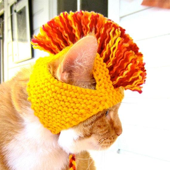 Mohawk Cat Hat - Yellow, Orange, & Red - Hand Knit Cat Costume