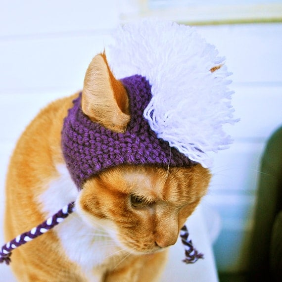 Mohawk Cat Hat - Purple and White - Hand Knit Cat Costume