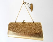 Vintage Gold Lame Purse with Gold Glitter / Gold Clutch