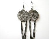 DISC O metal earrings long dangle chain earrings by 21W