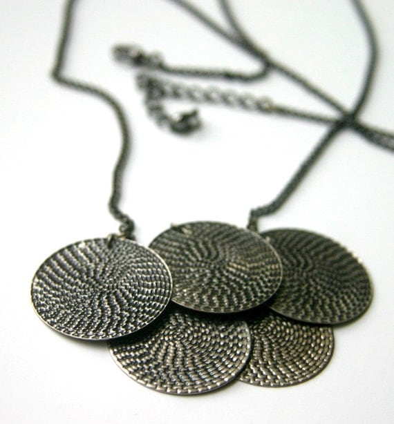 Coin charm chain necklace, gunmetal and antiqued silver color.
