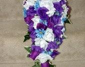 Purple Cascading Silk Wedding Bouquet
