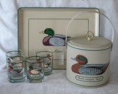 Ice Bucket Tray Glasses Georges Briard Barware Set Green Winged Teal Mallard  Duck 10% OFF Sale