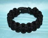 """Paracord Survival Bracelet - Black with 3/8"""" Buckle"""