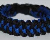 """Paracord Survival Bracelet - Black & Blue with 3/8"""" Buckle"""