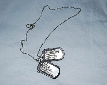 Military Style Dog Tags - Dull Finish - Set of Two Tags with Silencers