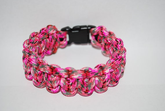 "Paracord Survival Bracelet - Pink Camo with 3/8"" Buckle"