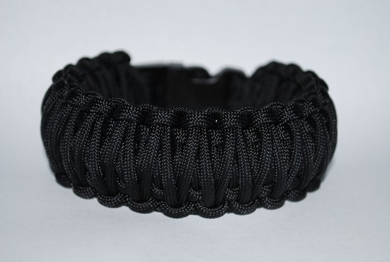 """Paracord Survival Bracelet - Black with 5/8"""" Buckle Buckle"""
