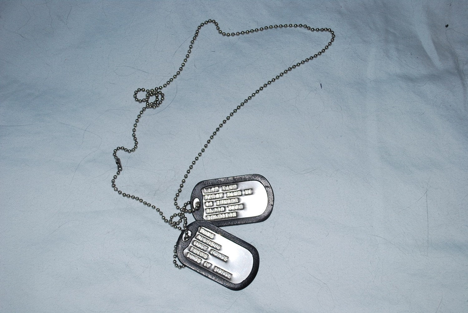 Military Style Dog Tags Dull Finish Set Of Two Tags With