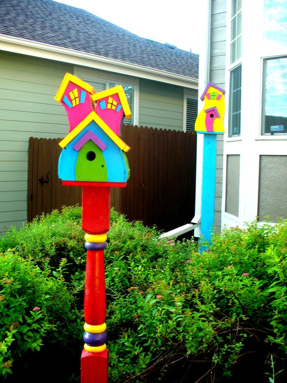 Items Similar To Bird House Whimsical With Bright Colors