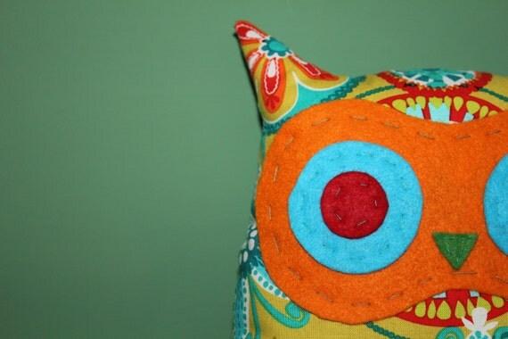 owl cushion retro 1960s